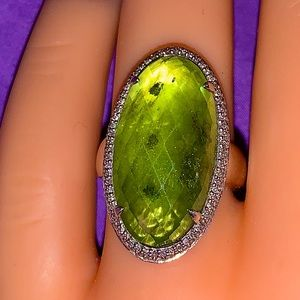 Peridot Checkered Cushion Cut Faceted Gemstone
